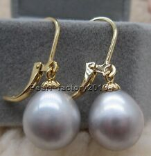 Gray AAA natural 12-11MM  south sea  pearl earrings 14K  GOLD