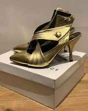 Office Gold Snake Leather Heels Size 6