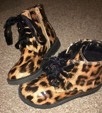 Matalan Girls Tan Leopard Biker Boot Size 10
