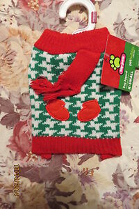 NEW ADORABLE TOP PAW GREEN & WHITE WITH RED TRIM HOLIDAY DOGGIE SWEATER SZ  XSM