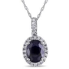 "14k White Gold 2 5/8 Ct Sapphire & 1/4 ct Diamond Pendant Necklace 17"""