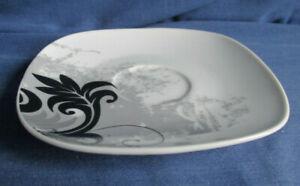 Van Well Untertasse 12,5 cm viereckig Black Flower weitere, Porzellan