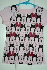 "Disney 100% Cotton Pink Short Sleeve Crewneck ""Minnie Faces"" T-Shirt Size 4"