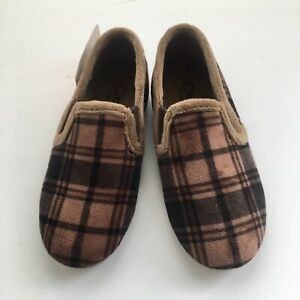 Cienta slipper EURO 29 US 12 boys brown plaid