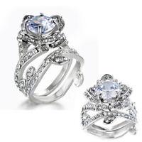 Wedding Set Topaz Women Jewelry Ring Silver ,Gold White Flower Fashion Lotus