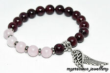 Natural Garnet Rose Quartz Feather Bracelet Gemstone Elasticated Healing Stone
