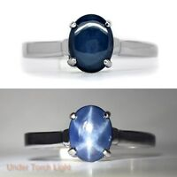 8x6mm Natural 6 Ray Blue Star-Sapphire Ring in 925 Silver