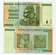 Genuine Zimbabwe 20 Billion AA 2008 Money Banknote UNC P86 Inflation Currency