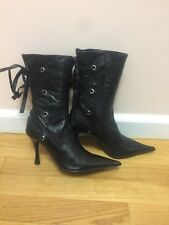 Women Boots Black Leather Mid Calf Boots With Laces Pounty Toe Size 36