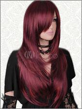 Lange Gerade Perücke Neu Wie Echthaar Dunkel Rot Mix Damen Haar Perücken
