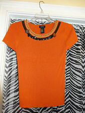 RQT R Q T Ladies Womens Top Blouse Rust with wooden Decor at neck Size Medium