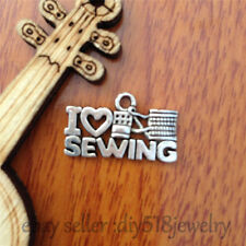 10pcs 21mm charm Silver I Love sewing Pendant DIY Jewelry Making necklace 7531