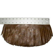 Fringe Genuine Brown Leather 12'' W X 6'' Long Lot of 2  (Made In USA)