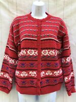 Vtg Beldoch Popper Fair Isle Cardigan Sweater Nordic Women's M Made In USA