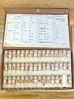 47 Glass Vials W/ Assorted Watch Parts - Screws, Gears, etc... (K4095)