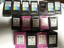 17 Cartuchos de tinta usados 540,541, 301 vacío/Usado CANON & HP Cartuchos De Tinta