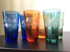 Service de six verres à orangeade en cristal double coloré taillé de Bohème