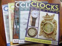 JOB LOT X 5 CLOCKS CLOCK HOROGICAL  MAGAZINES 2010 JAN MAR MAY AUG NOV