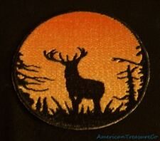 Embroidered Sunset Buck Deer Silhouette Ombre Circle Patch Iron On Sew On USA