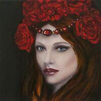 Portrait painting, Original Oil Painting, Red flowers crown, beautiful woman