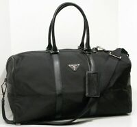 PRADA Saffiano Leather Trim Unisex Black Duffle Bag Weekend Excellent MSRP $1950