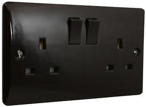 eXalt Brand Brown Bakelite 2 Gang Switched UK Plug Socket 13 A 240V