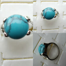 BAGUE TURQUOISE FORME RONDE BEL ASPECT PIERRE BLEU TAILLE 56 REFE29