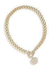 NWT Guess Gold Metal-Clear Stones Heart Charm Stamped Logo Toggle Necklace