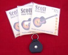 3 Paquetes De Juegos Scott Guitarra Acústica Cuerdas 12s .012 Trabajo