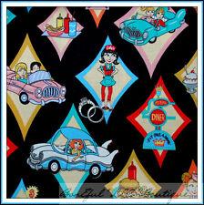 BonEful Fabric FQ Cotton Quilt Girl Retro Kitchen Apron Car Diner Route 66 Food