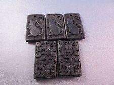 Carved Black Cinnabar Pendant Beads Chinese Zodiac Year Of Rat 5pcs