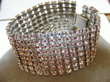STUNNING! Wide BRACELET PAVE Pronged Crystals Rhinestones CHUNKY THICK Vintage