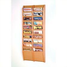 Pemberly Row 20 Pocket Wall Mount Magazine Rack in Light Oak