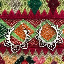 Silver Plated Half Moon Lotus Flower Hoop Earrings