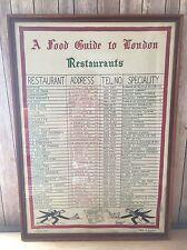 Antique Glass Framed Linen 'A Food Guide To London Restaurants' 32x23 Decor