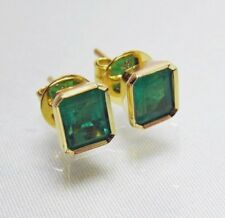 2.20ct NATURAL GORGEOUS AAA+ COLOMBIAN EMERALD STUD EARRINGS 18K YELLOW GOLD