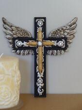 """8"""" Western Holy Guardian Angel Silver Wing Golden Wall Cross Flower Rhinestone"""