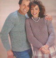 "Easy Knit Fishermans Rib Sweater Knitting Pattern DK 32-44"" 953"