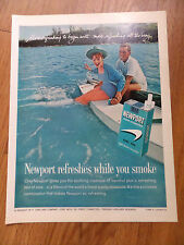 1962 Newport Cigarette Ad Couple Swimming Boating Fun Lot of 2 Ads