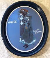 """1991 Vintage Coke Brand Coca Cola Collector's Tray """"1912 Calendar Girl"""" Blue 15"""""""