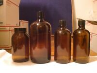 LOT OF 4 VINTAGE MEICINE BOTTLES WITH BAKELITE LIDS GREAT CONDITION