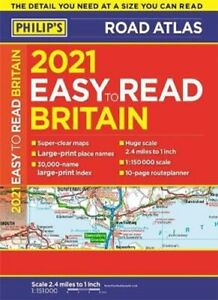 2021 Philip's Easy to Read Britain Road Atlas (A4 Paperback) 9781849075350