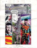 Original 1999 JLA 26 page 6 DC Comics color guide art: Superman/1990's action!
