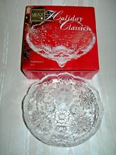 """Mikasa Holiday Classic 6"""" Footed Crystal Bowl Snowflake Design Candy Nuts"""