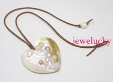 White heart shape shell 60mm pendant baroque mother of pearl brown leather 18""