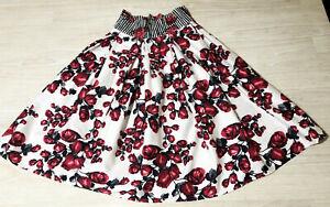 JOHNSTON & BELL RETRO 50s SKIRT 8 High waist ROCKABILLY SWING floral red white