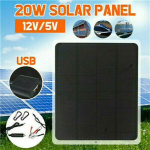 20W Watt Solar Panel Kit Trickle Charger 12V Battery Charger for RV Boat Car