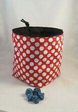 Polka Dot Dice Bag Square Base Freestanding Reversible Drawstring Tile Pouch D&D