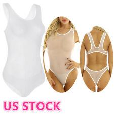 US_Sexy Women Lingerie Monokini Sheer Mesh Swimwear Leotard Bikini Bodysuit Club