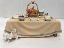 Table Decoration Miniature Thanksgiving Table Cherished Teddies 141542  5X3X2